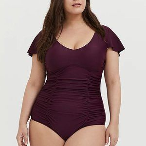 Torrid 6X Swimsuit One Piece Ruched Plum Plus NWT